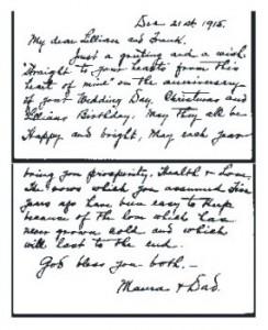 Card from Elizabeth to Lillian & Frank